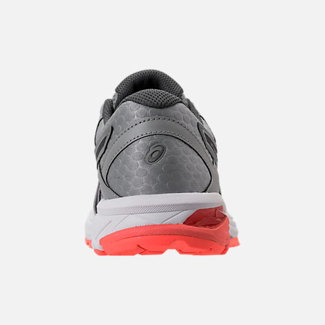 Back view of Women's Asics GT-1000 4 Running Shoes in Mid Grey/Carbon/Flash Coral
