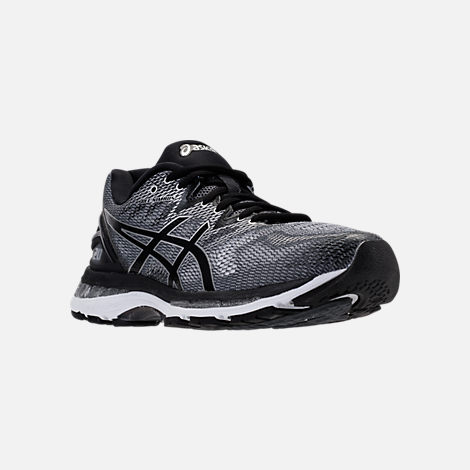 Three Quarter view of Men's Asics Nimbus 20 Running Shoes in Carbon/Black/Silver