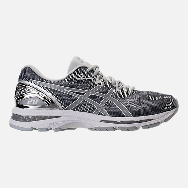 Right view of Men's Asics GEL-Nimbus 20 Platinum Running Shoes in Carbon/Silver/White