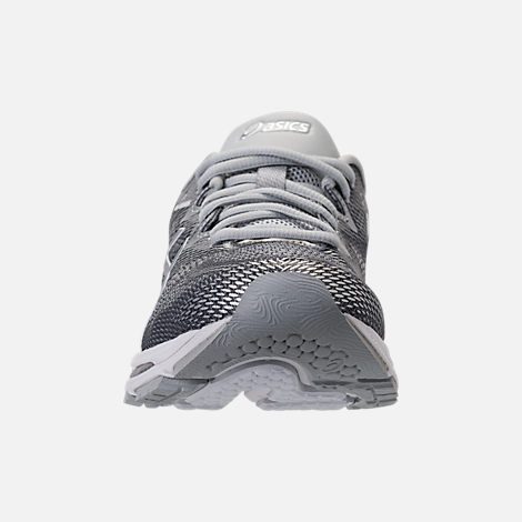 Front view of Men's Asics GEL-Nimbus 20 Platinum Running Shoes in Carbon/Silver/White