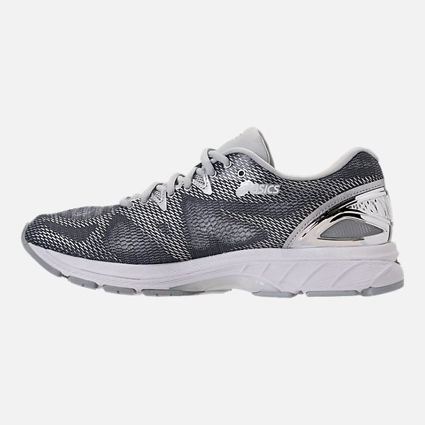 Left view of Men's Asics GEL-Nimbus 20 Platinum Running Shoes in Carbon/Silver/White
