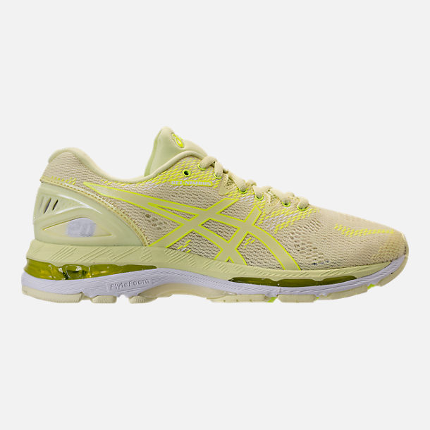 Right view of Women's Asics GEL-Nimbus 20 Running Shoes in Limelight/Limelight/Safety Yellow