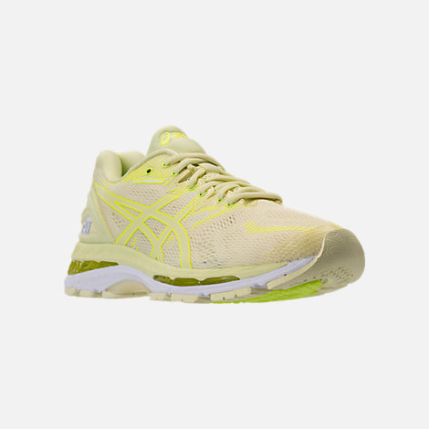 Three Quarter view of Women's Asics GEL-Nimbus 20 Running Shoes in Limelight/Limelight/Safety Yellow