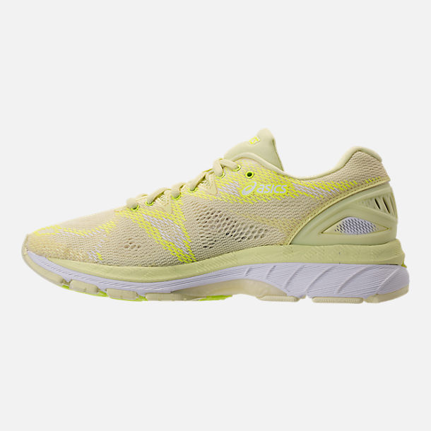 Left view of Women's Asics GEL-Nimbus 20 Running Shoes in Limelight/Limelight/Safety Yellow