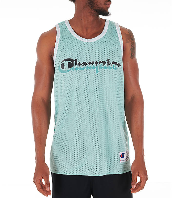 Front view of Men's Champion Reversible Mesh Tank in Waterfall Green/Black