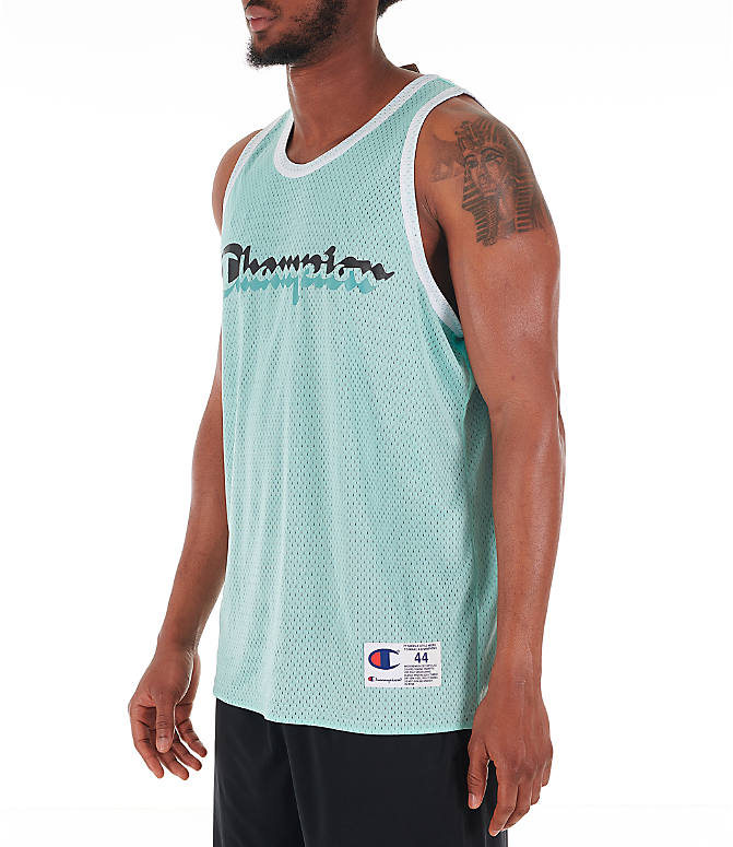 Front Three Quarter view of Men's Champion Reversible Mesh Tank in Waterfall Green/Black