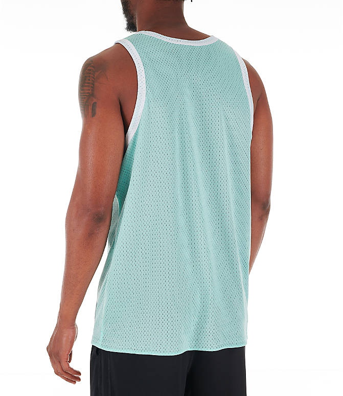 Back Left view of Men's Champion Reversible Mesh Tank in Waterfall Green/Black