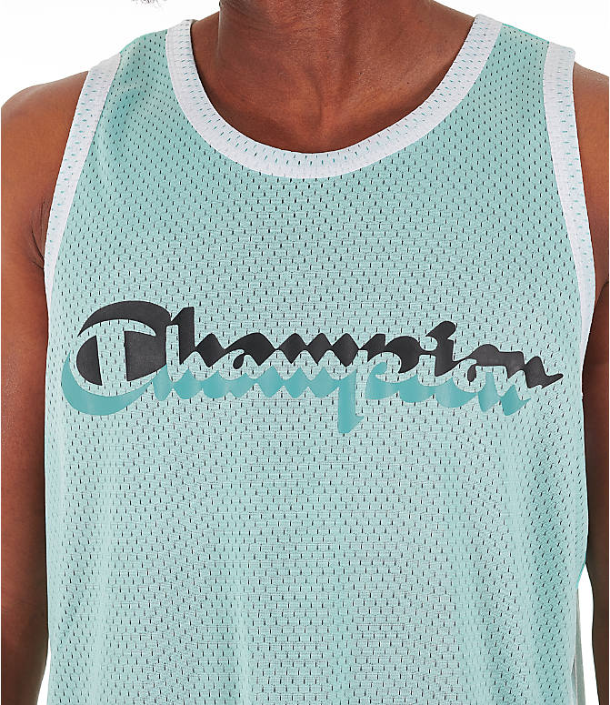 Back Right view of Men's Champion Reversible Mesh Tank in Waterfall Green/Black