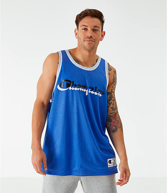 Front view of Men's Champion Reversible Mesh Tank in Steel Blue/Silver