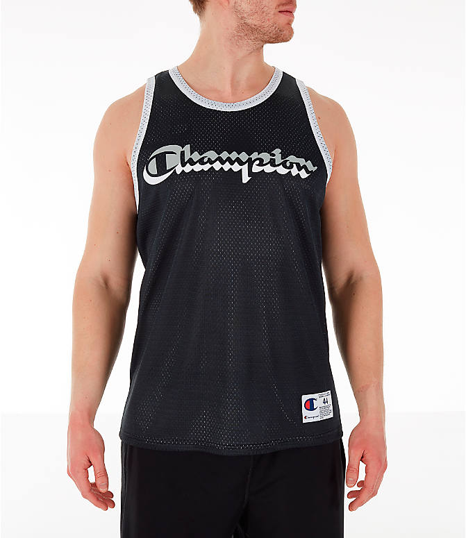 Front view of Men's Champion Reversible Mesh Tank in Black/Silver