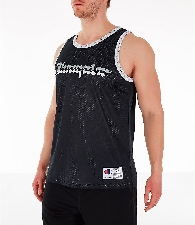 Front Three Quarter view of Men's Champion Reversible Mesh Tank in Black/Silver