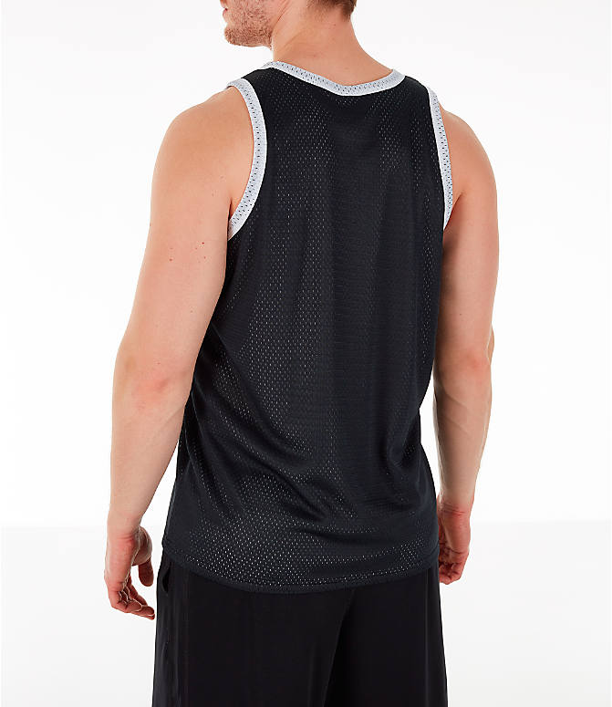 Back Left view of Men's Champion Reversible Mesh Tank in Black/Silver