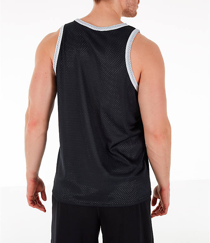 Back Right view of Men's Champion Reversible Mesh Tank in Black/Silver