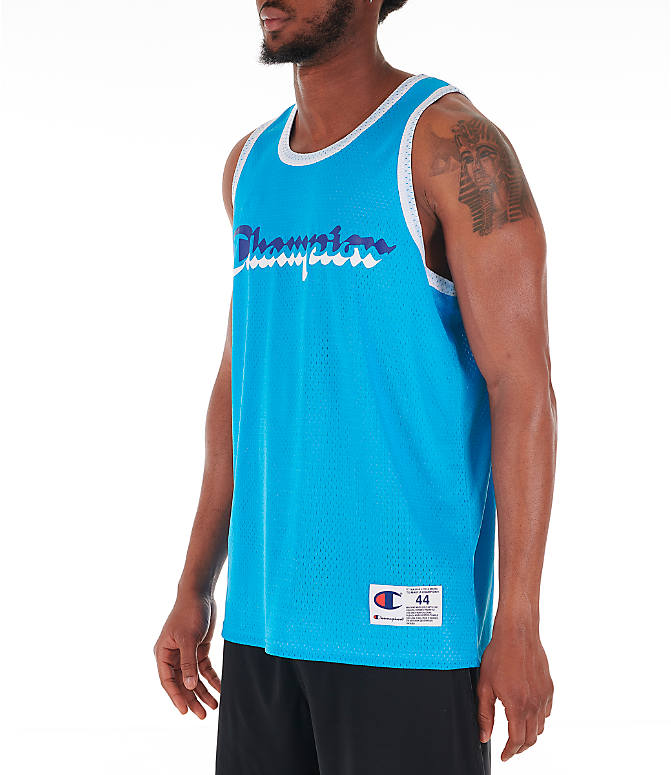Front Three Quarter view of Men's Champion Reversible Mesh Tank in Active Blue/White