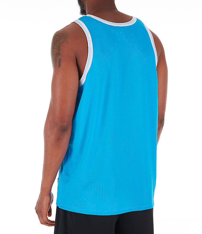 Back Left view of Men's Champion Reversible Mesh Tank in Active Blue/White