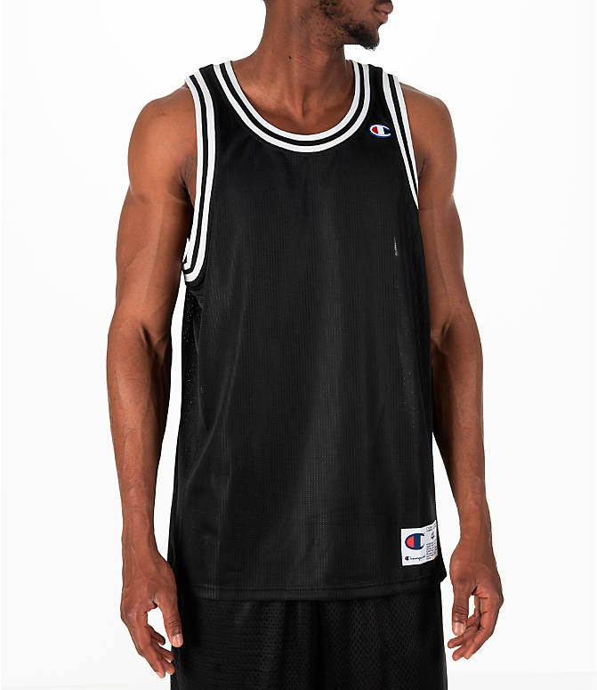 Front view of Men's Champion City Mesh Jersey in Black/White