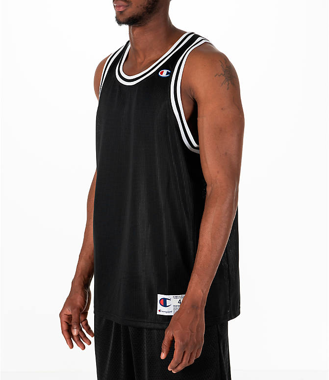 Front Three Quarter view of Men's Champion City Mesh Jersey in Black/White