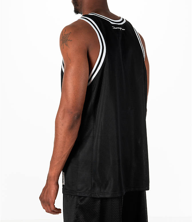 Back Left view of Men's Champion City Mesh Jersey in Black/White