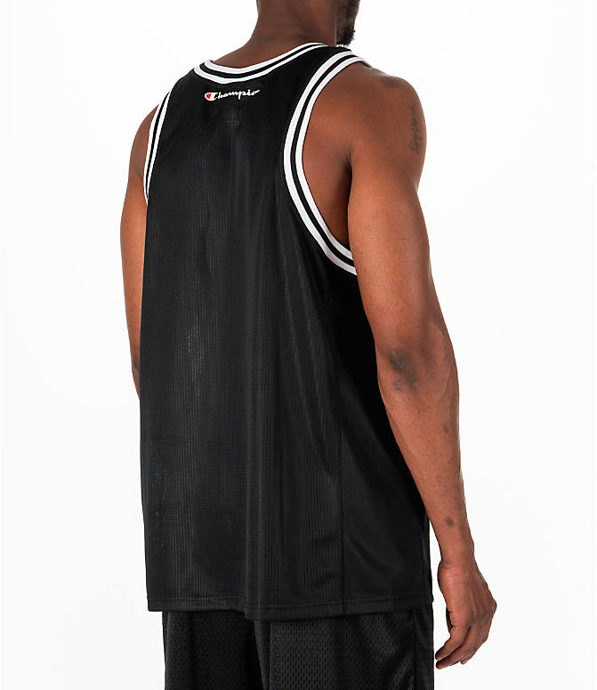 Back Right view of Men's Champion City Mesh Jersey in Black/White