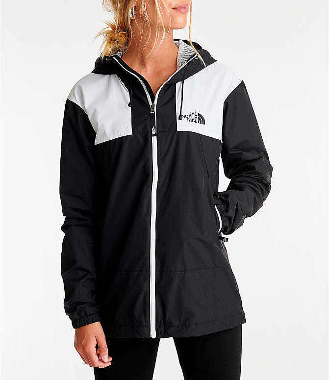 Front view of Women's The North Face Panel Wind Jacket in Black/White