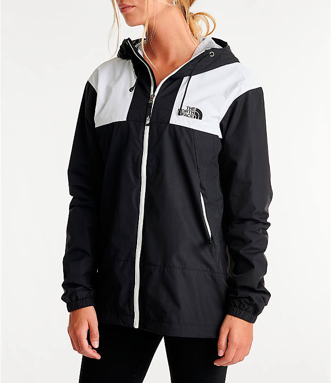 Front Three Quarter view of Women's The North Face Panel Wind Jacket in Black/White