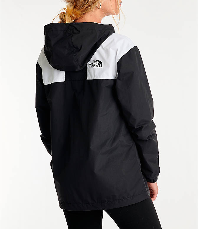 Back Right view of Women's The North Face Panel Wind Jacket in Black/White
