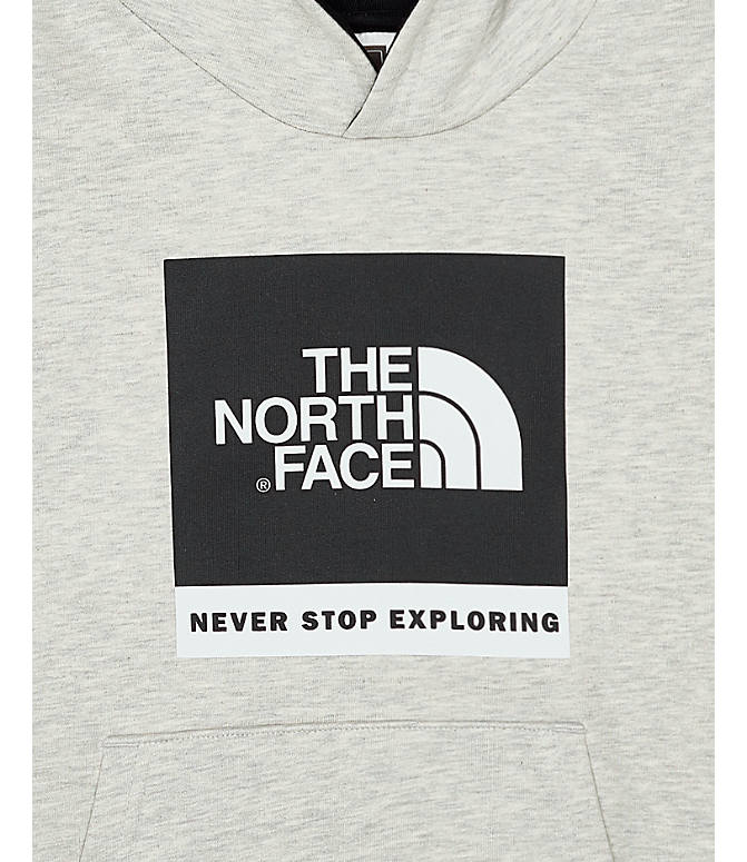 Front view of Boys' The North Face Box Logo Hoodie in Oat/Heather