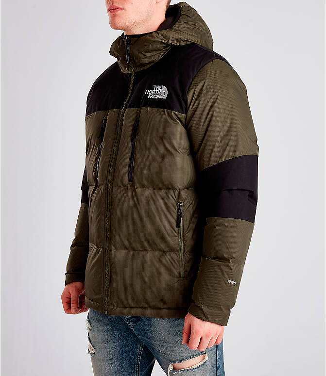Front Three Quarter view of Men's The North Face Himalayan Parka in Dark Green