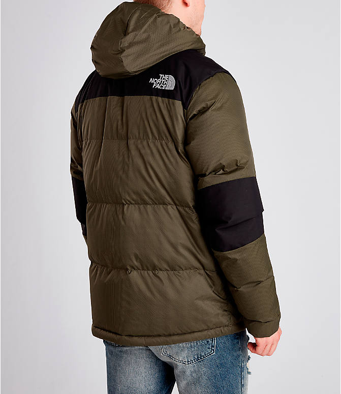 Back Right view of Men's The North Face Himalayan Parka in Dark Green