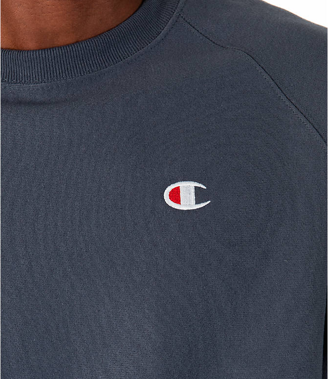 Detail 1 view of Men's Champion Reverse Weave Short-Sleeve Crew Sweatshirt in Dark Grey