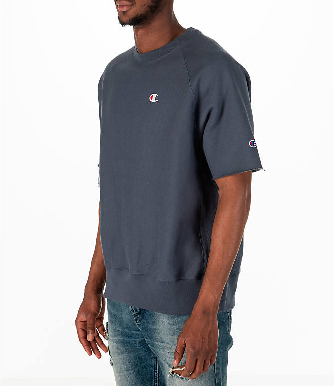 Front Three Quarter view of Men's Champion Reverse Weave Short-Sleeve Crew Sweatshirt in Dark Grey