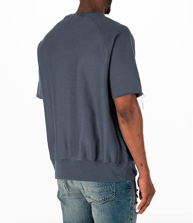 Back Right view of Men's Champion Reverse Weave Short-Sleeve Crew Sweatshirt in Dark Grey