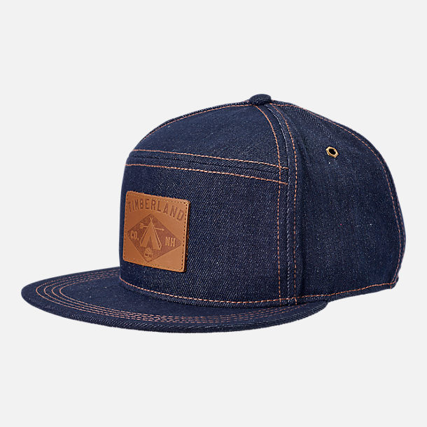Front view of Timberland Plum Island 5 Panel Adjustable Back Hat in Dark Denim