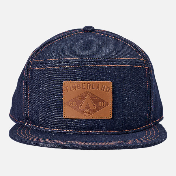 Back view of Timberland Plum Island 5 Panel Adjustable Back Hat in Dark Denim