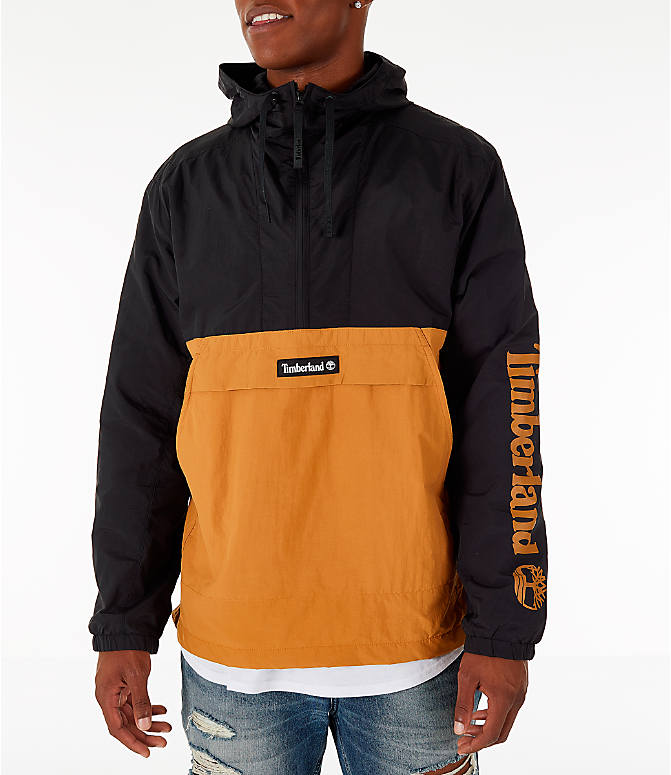 Front view of Men's Timberland Color Block Windbreaker Jacket in Black/Wheat