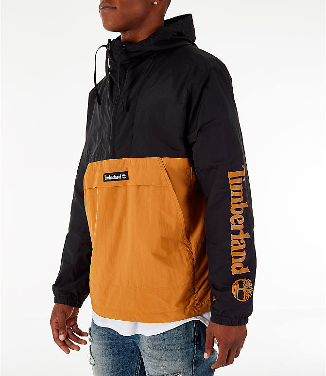 Front Three Quarter view of Men's Timberland Color Block Windbreaker Jacket in Black/Wheat