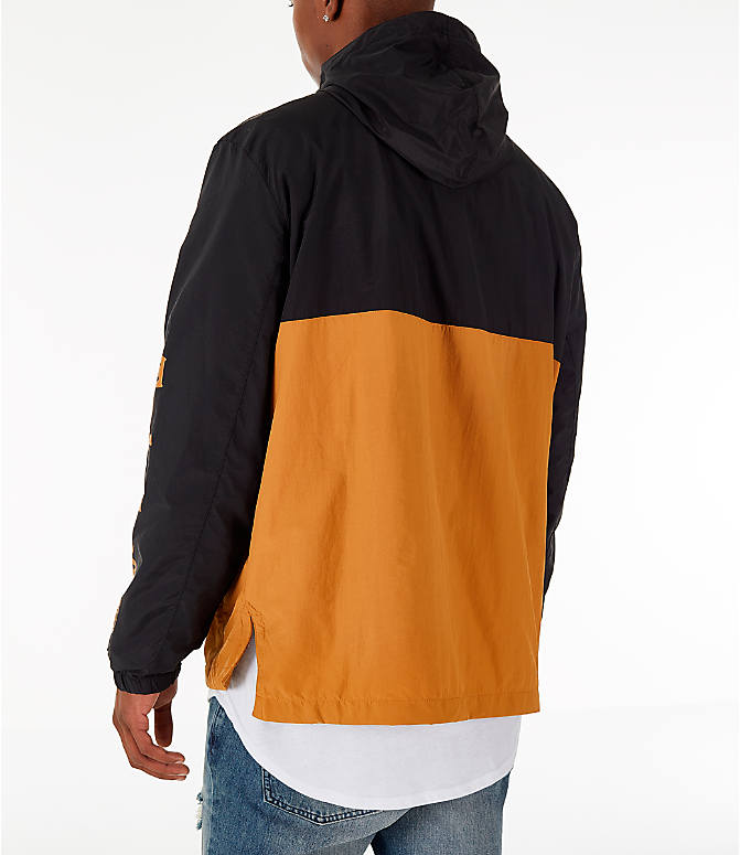 Back Left view of Men's Timberland Color Block Windbreaker Jacket in Black/Wheat
