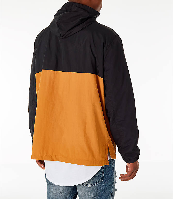Back Right view of Men's Timberland Color Block Windbreaker Jacket in Black/Wheat