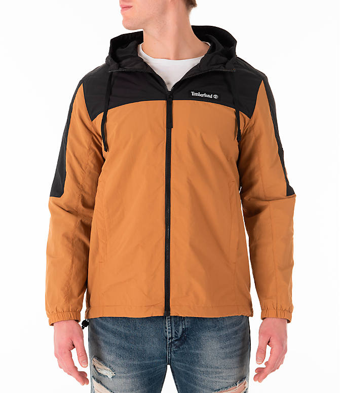 Front view of Men's Timberland SLS Wind Hooded Jacket in Wheat/Black