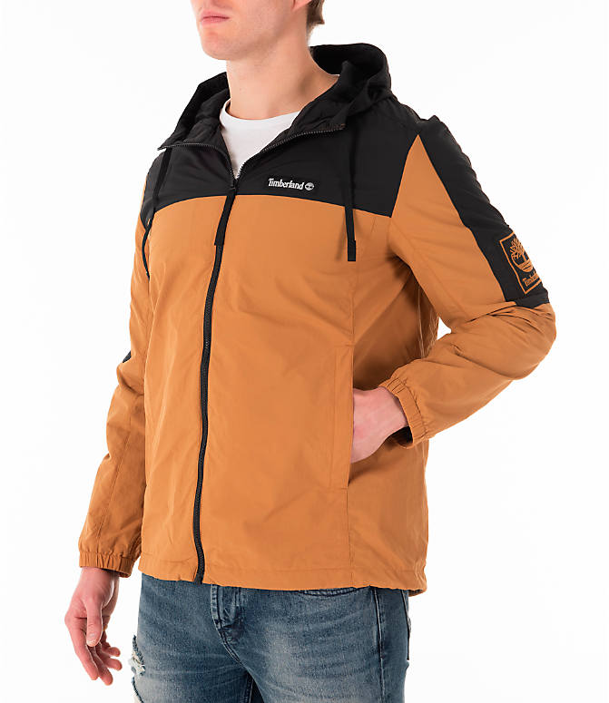 Front Three Quarter view of Men's Timberland SLS Wind Hooded Jacket in Wheat/Black