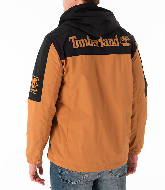 Back Left view of Men's Timberland SLS Wind Hooded Jacket in Wheat/Black