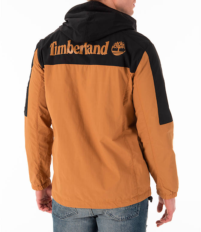 Back Right view of Men's Timberland SLS Wind Hooded Jacket in Wheat/Black