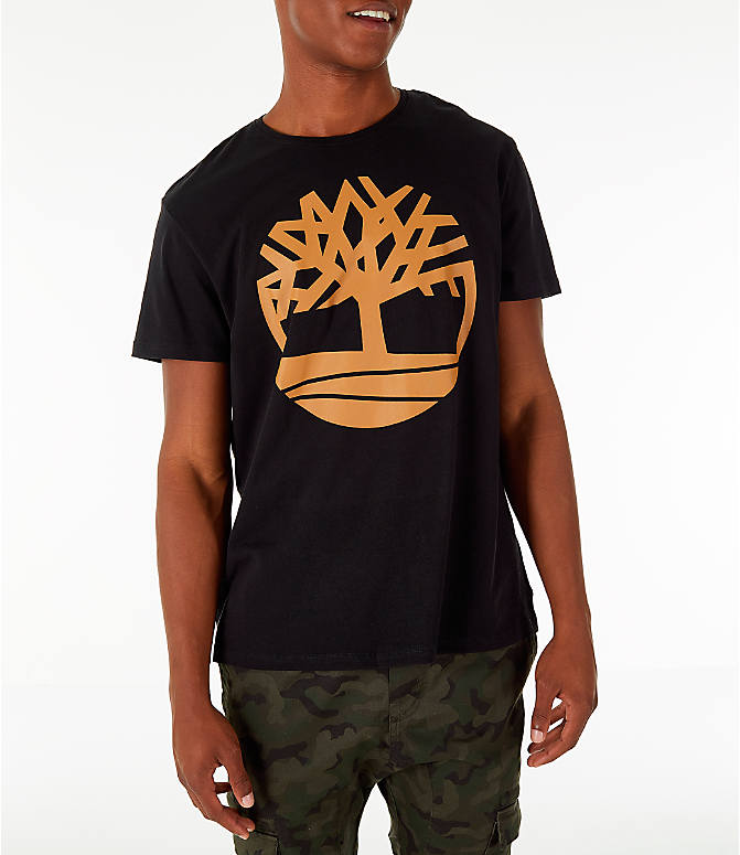 Front view of Men's Timberland Big Tree Logo T-Shirt in Black