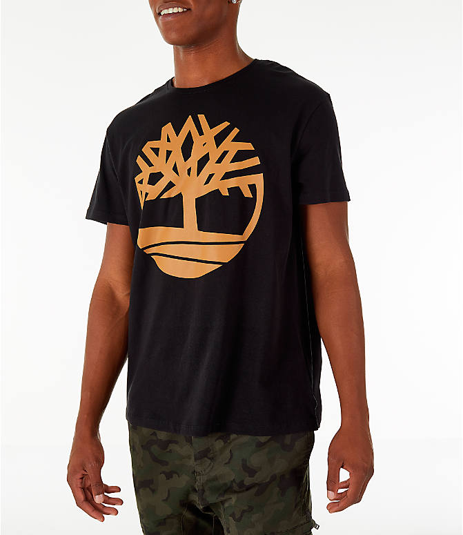 Front Three Quarter view of Men's Timberland Big Tree Logo T-Shirt in Black