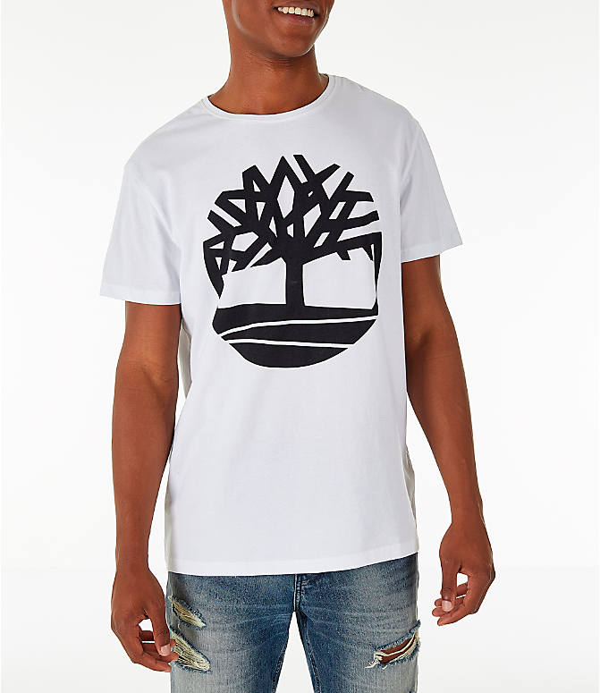 Front view of Men's Timberland Big Tree Logo T-Shirt in White