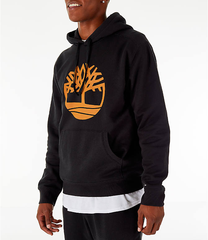 Front Three Quarter view of Men's Timberland Big Tree Logo Hoodie in Black