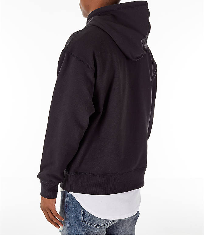 Back Left view of Men's Timberland Oversized Hoodie in Black