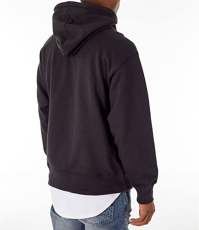 Back Right view of Men's Timberland Oversized Hoodie in Black