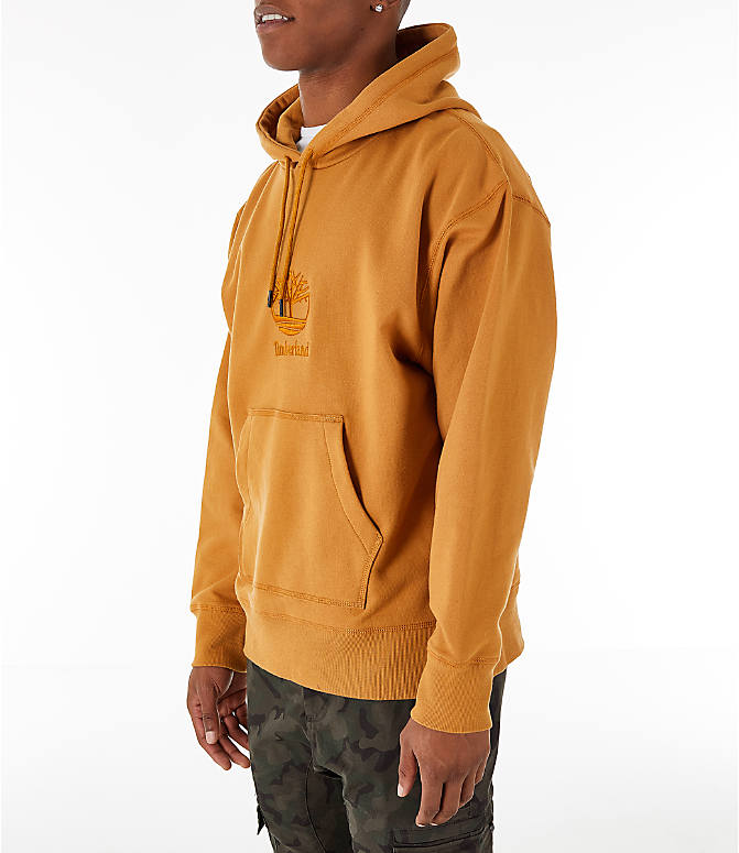 Front Three Quarter view of Men's Timberland Oversized Hoodie in Wheat
