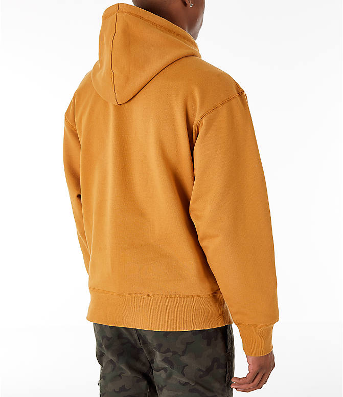 Back Right view of Men's Timberland Oversized Hoodie in Wheat